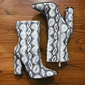 Fashion Nova Shoes - Fashion Nova faux suede heeled boots
